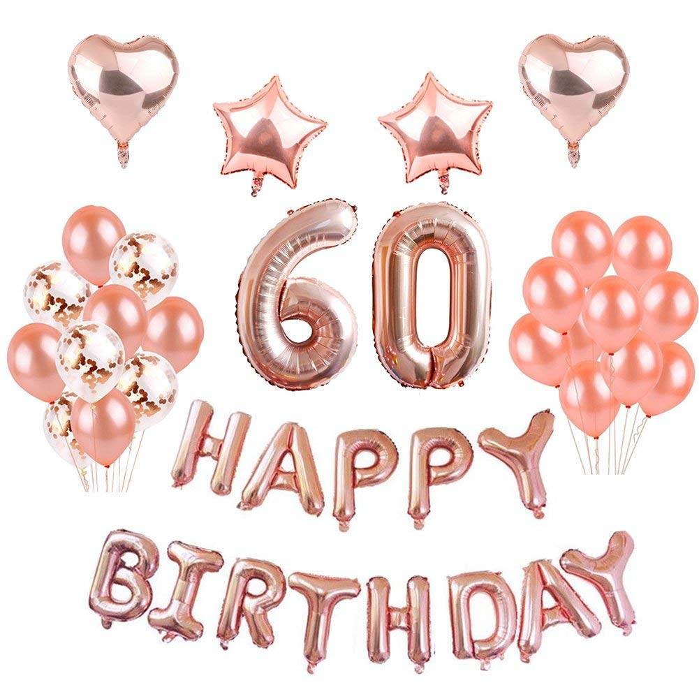 Get Quotations 60th Birthday Decorations Rose Gold Puchod 60 Foil Balloons Banner Set Party