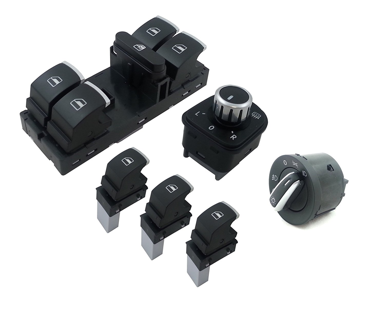 flexzon 6 Pcs Set Of Chrome Window Mirror Headlight Switch Control VW Passat Golf Jetta