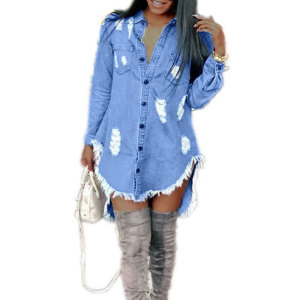 81203-MX79 ripped women denim dress asymmetrical design clothes women
