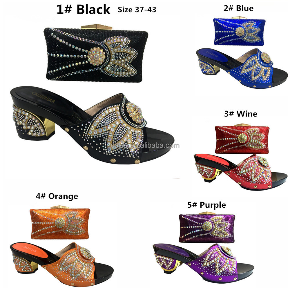 ladies flat size wedding shoes Latest design and crystal ladies bag women plus shoes matching shoes qnBZY
