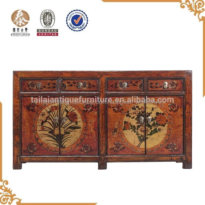 cinese pechino di legno antico dipinto rustico armadio credenza ...