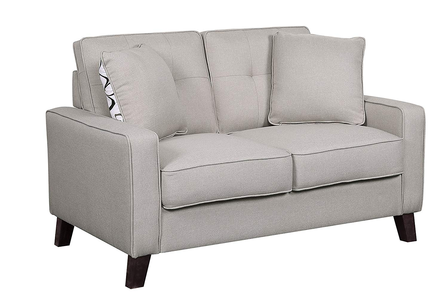 Container Furniture Direct S5309-L Lillana Linen Upholstered Mid-Century Modern Loveseat with Two Accent Pillows, Beige