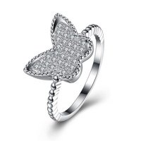 SJ Gold Supplier SJVR147 Alluring 925 Silver Platinum Plated Pave Set Cubic Zirconia Man-Made Crystal Butterfly Ring for Friend
