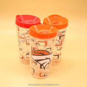 High quality insulated double layer plastic tea cups 500ml
