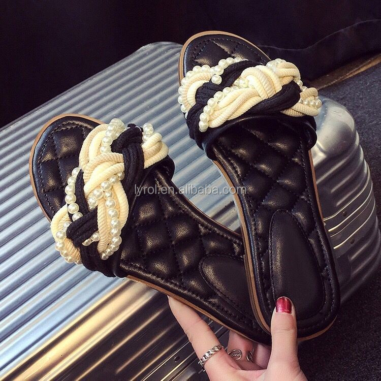 ladies <strong>sandals</strong> and slippers fashion women slippers cross ropes and pearls quilted PU insock slippers
