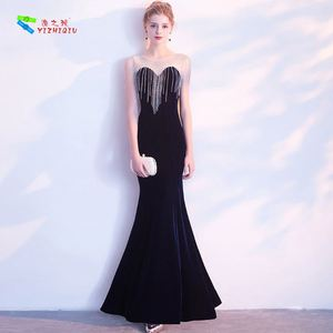 YIZHIQIU beaded party wear dress patterns mermaid evening dress