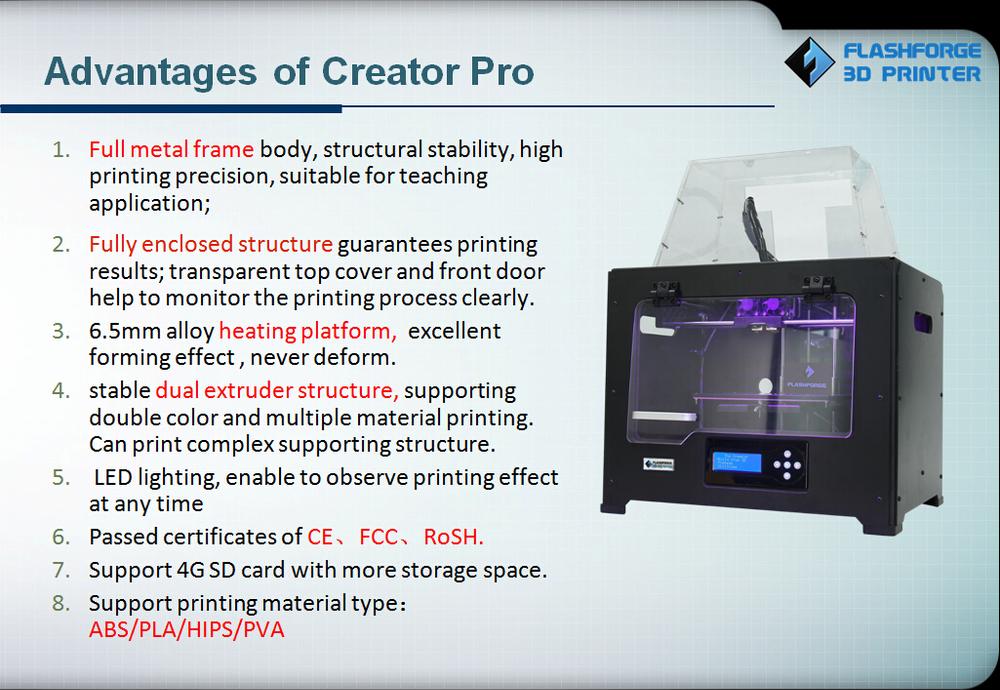 Flashforge Creator Pro 3d printer for abs pla pva filament, View flashforge  abs pla pva filament 3d printer , Flashforge Product Details from Zhejiang