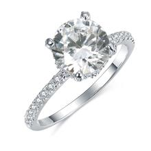 Engagement Ring Diamant Trendy Hohe Qualität 2,42 CT T.W. 14K White Gold Moissanite Ring