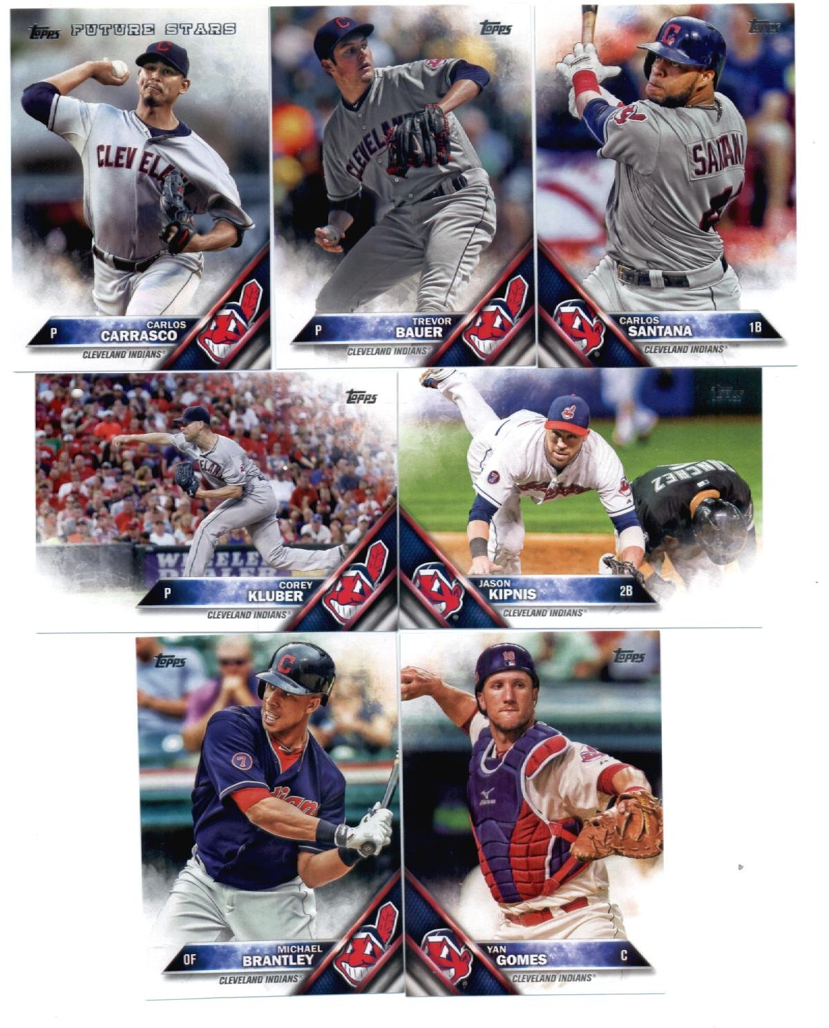 2016 Topps Baseball Cleveland Indians Master Team Set of 31 Cards (Series 1, Series 2, and Update Series)- Includes Kluber, Napoli, Lindor, Kipnis, Naquin plus more!