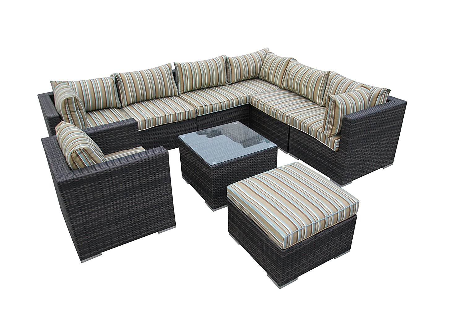Get Quotations · 9pcs Wicker Patio Sofa Set Outdoor Rattan Furniture  Modular Sofa Set