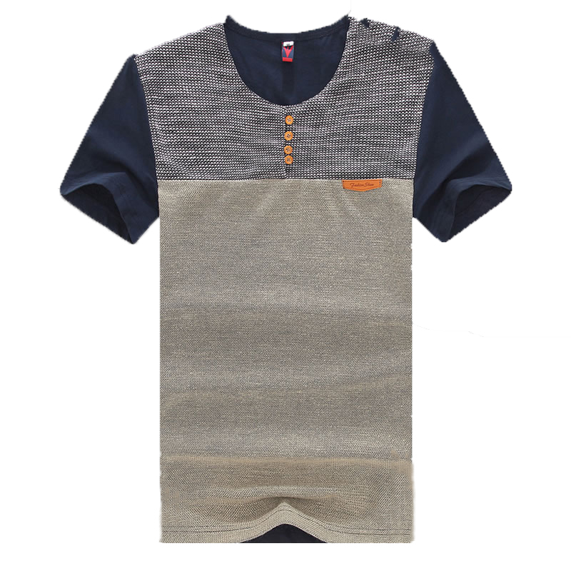 Summer new fashion color stitching Slim Men T-shirt large size men's casual short-sleeved T-shirt men M-XXXXXL