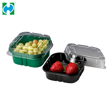Wholesale Clear Hinged Lid Deep Plastic Takeout Salad Container Bops Blister Clamshell Cake Packaging Box
