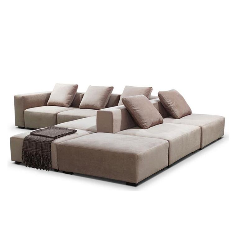 8 Piece Modular Reconfigurable Deep Seating Fabric Sofa Sectional
