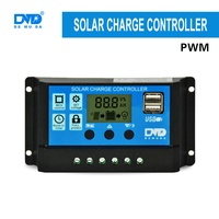 New Type LCD Display PWM high voltage solar charge controller 12v 24v 10A 20A 30A USB 5V 2A