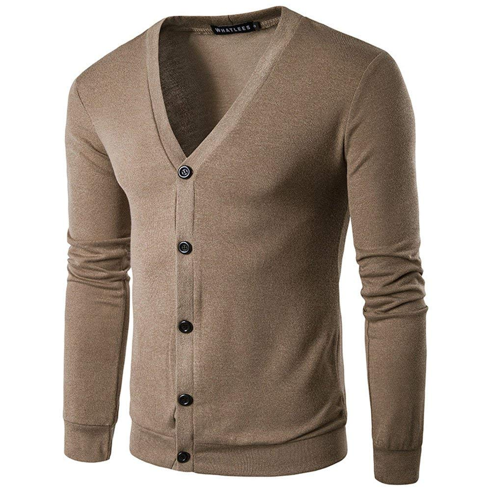 Mens Cardigan,Males Casual Winter Knit Sweater Button V Neck Cotton Coat Tops Zulmaliu