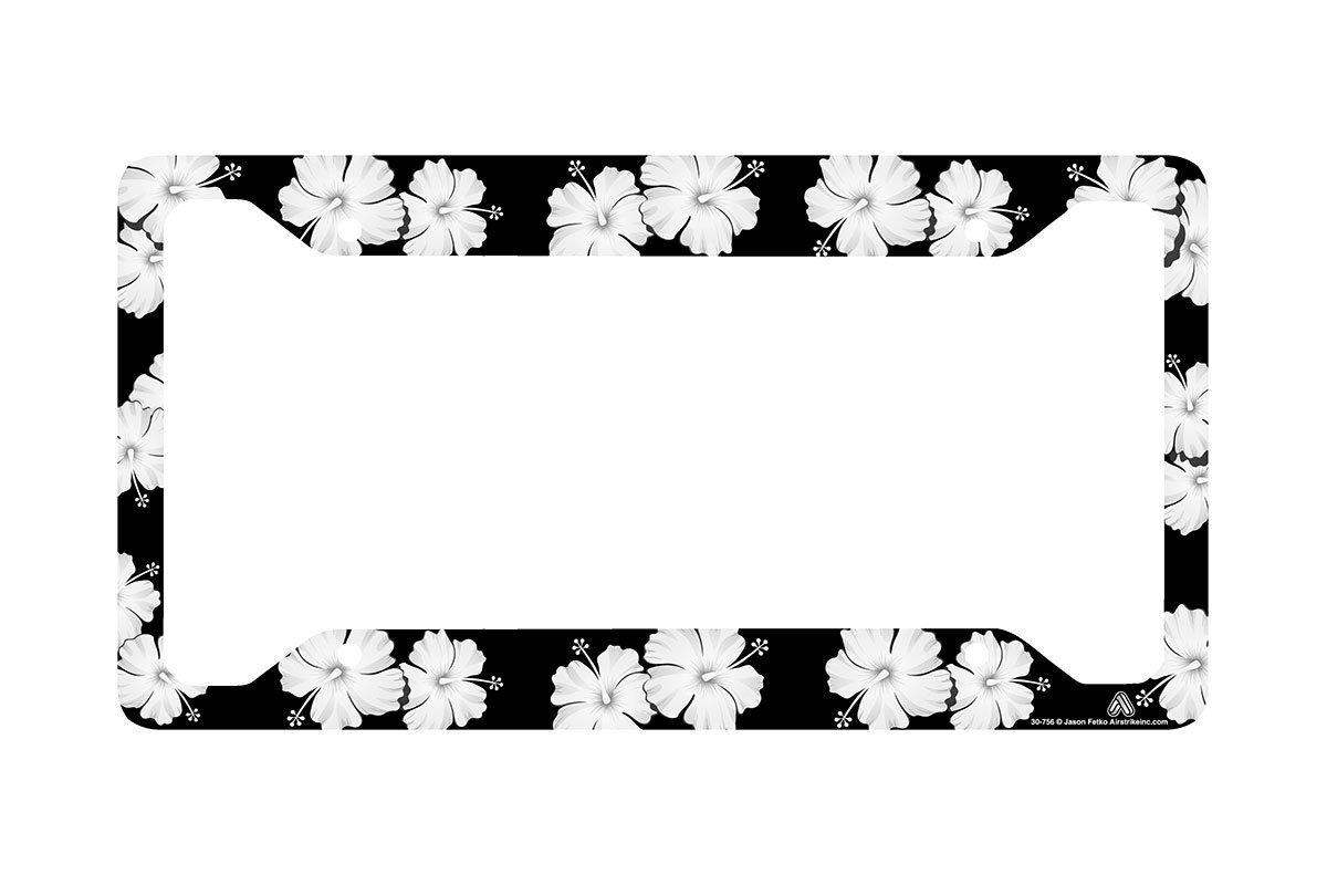 Airstrike Tropical Flowers Hibiscus Black License Plate Frame, Flower License Plate Frame, License Plate Holder, Cute License Plate Frame-30-756
