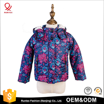5dfe5cd9 Wholesale Windproof Thick kids Girls hooded Quilted Coat Custom full  printed jacket