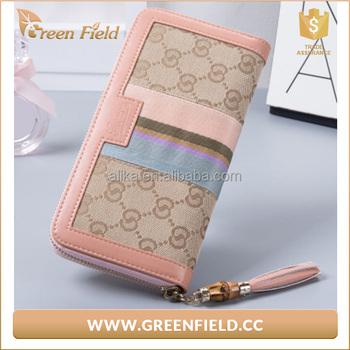 nice design color printing canvas zipper long wallet women buy