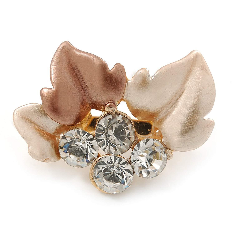 Small Bronze/ Magnolia Enamel, Crystal Leaf Pin Brooch In Gold Tone - 25mm