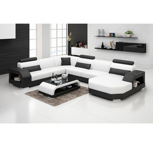 Home goods furniture white and black leather luxury sofa set designs