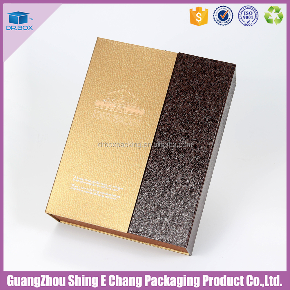 Luxury Fashion wine paper custom foldable double bottle Wine Box with accessories
