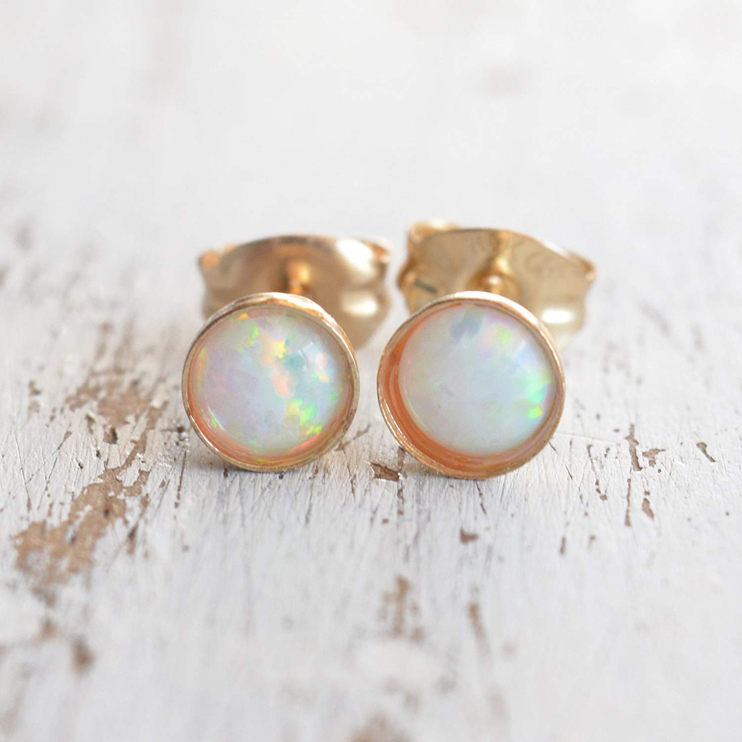 Get Quotations Opal Earrings Stud 14k Gold Filled 4mm White Stone