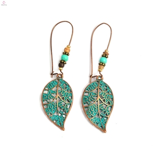 Womens Jewelry Vintage Bohemian Statement Bead Alloy Metal Drop Leaf Earrings