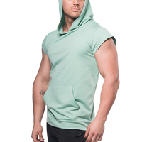 New diesgn fashion sports wear gym fitness sleeveless hoodies for men