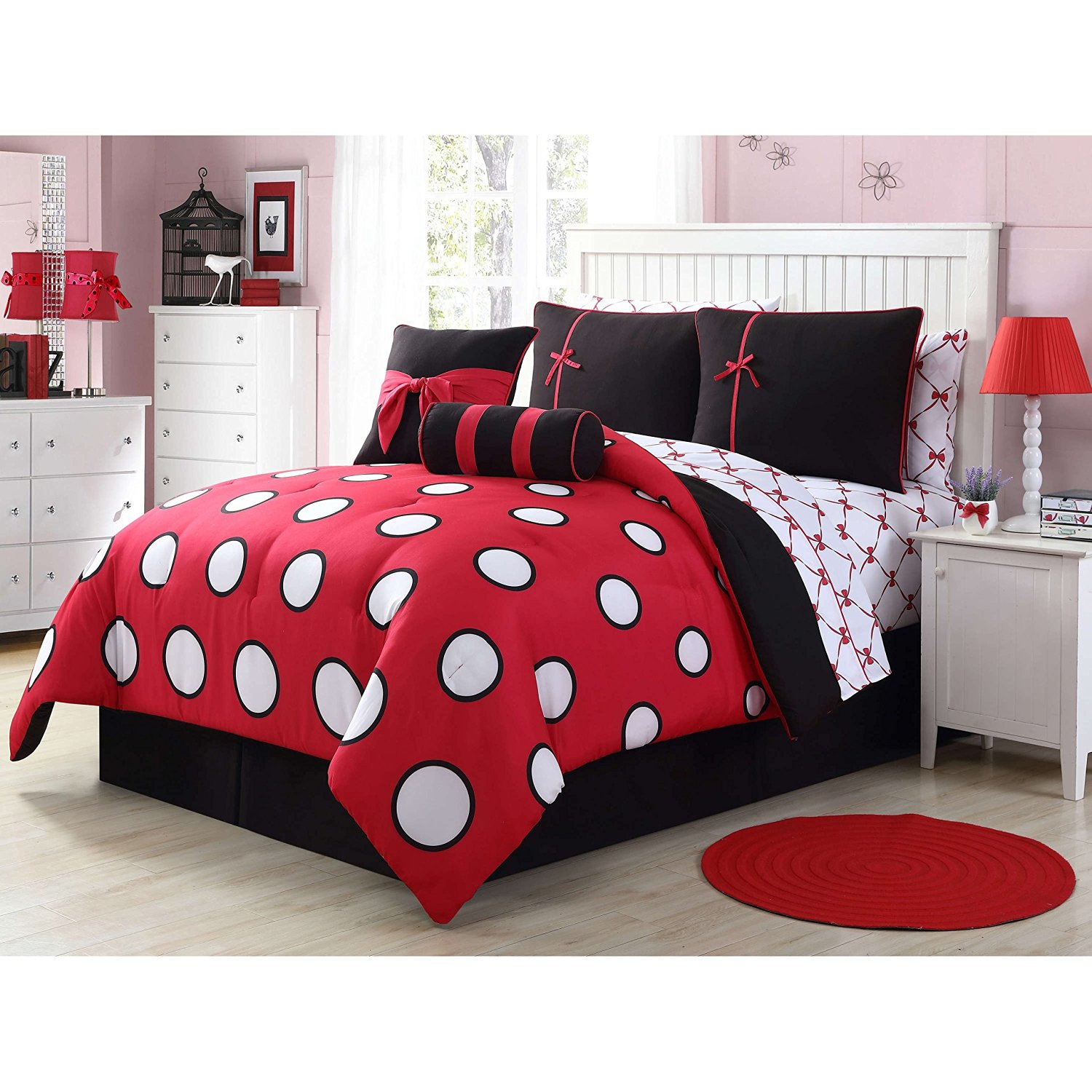 8 Piece Twin Black Red Contemporary Bed In A Bag With Sheet Set For Teen Girls, High Class Bedding, Polyester Fabric, Polka Dot Pattern, Machine Washable, Dark Black, Medium Red, White Dot