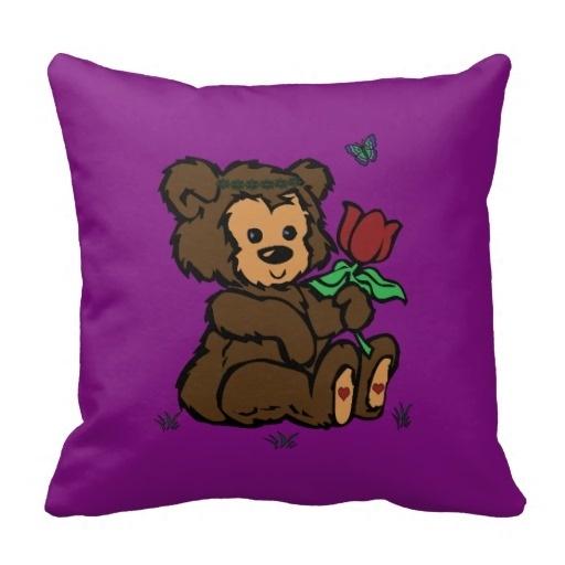 Cute Hippie Bear Headband Flower Butterfly Throw Pillow Case (Size: 20