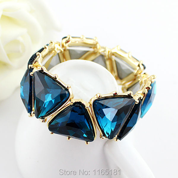Min Order $10 Green Blue Simulated Gemstone Gold Color Alloy Elastic Bracelets and Bangles for Women