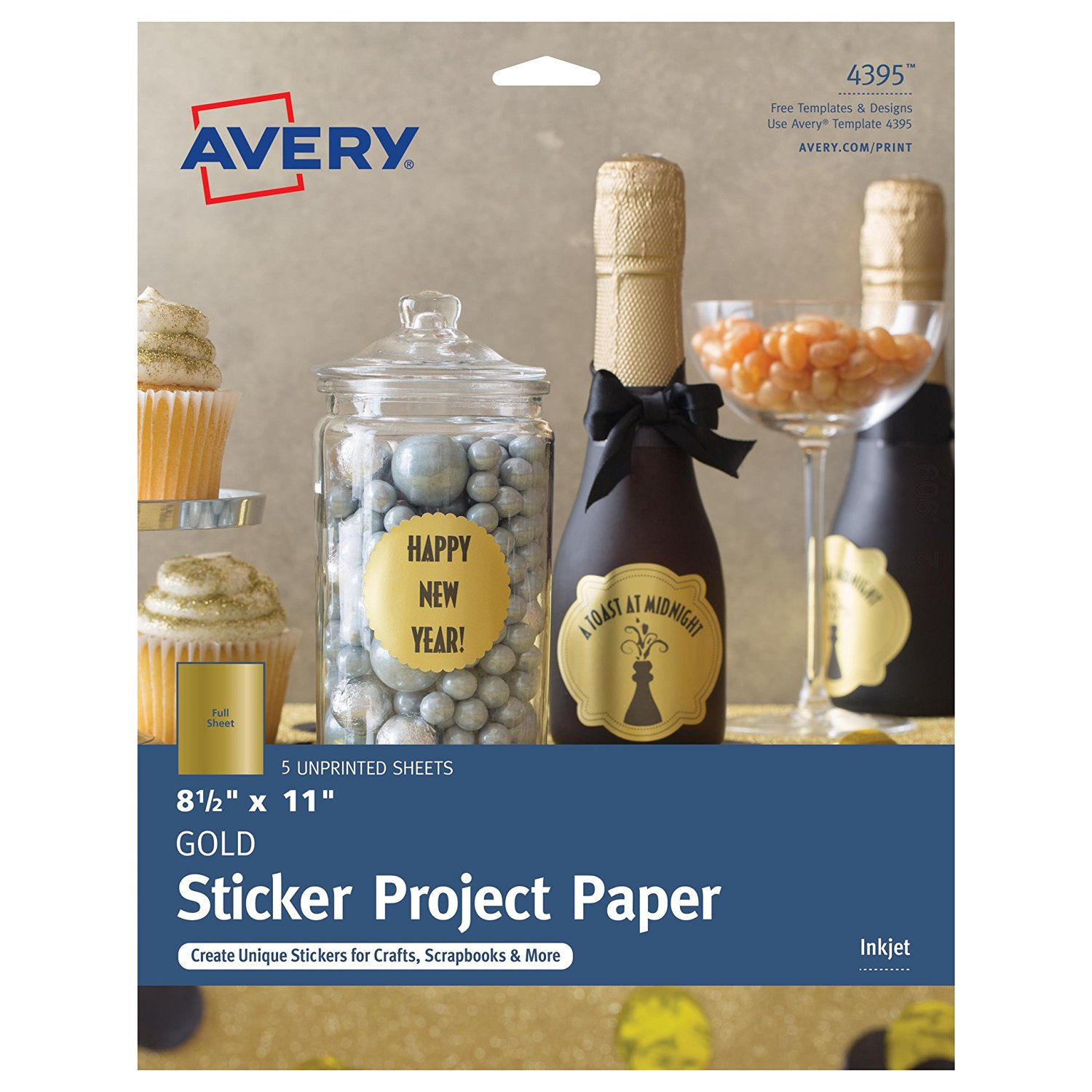"""Avery Gold Full-Sheet Sticker Project Paper, 8-1/2"""" x 11"""" 5 Sheets (4395)"""