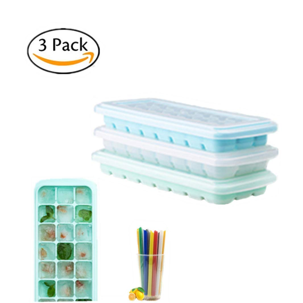 Ice Cube Trays 3 pack, AnRio Silicone Ice Cube Tray With Lids BPA Free, Easy-Release and Flexible 24-Ice Trays