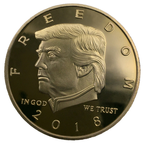 donald trump gold and silver coin in double side