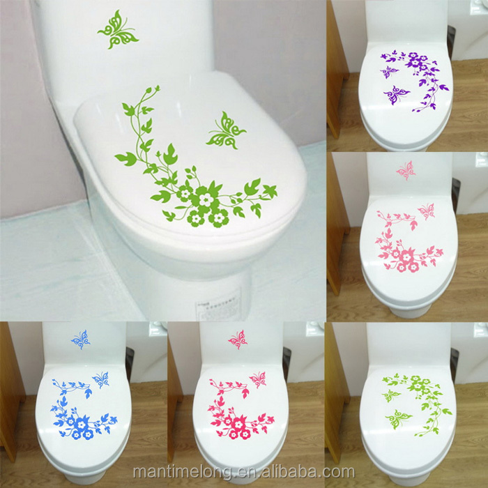 Butterfly Flower bathroom wall stickers home decoration wall decals for toilet decorative sticker