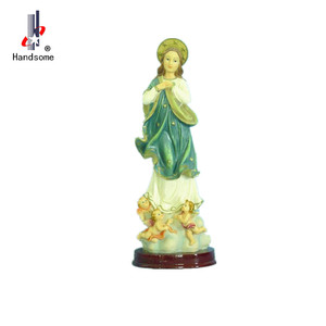 Virgin mary and baby jesus resin religious figurine