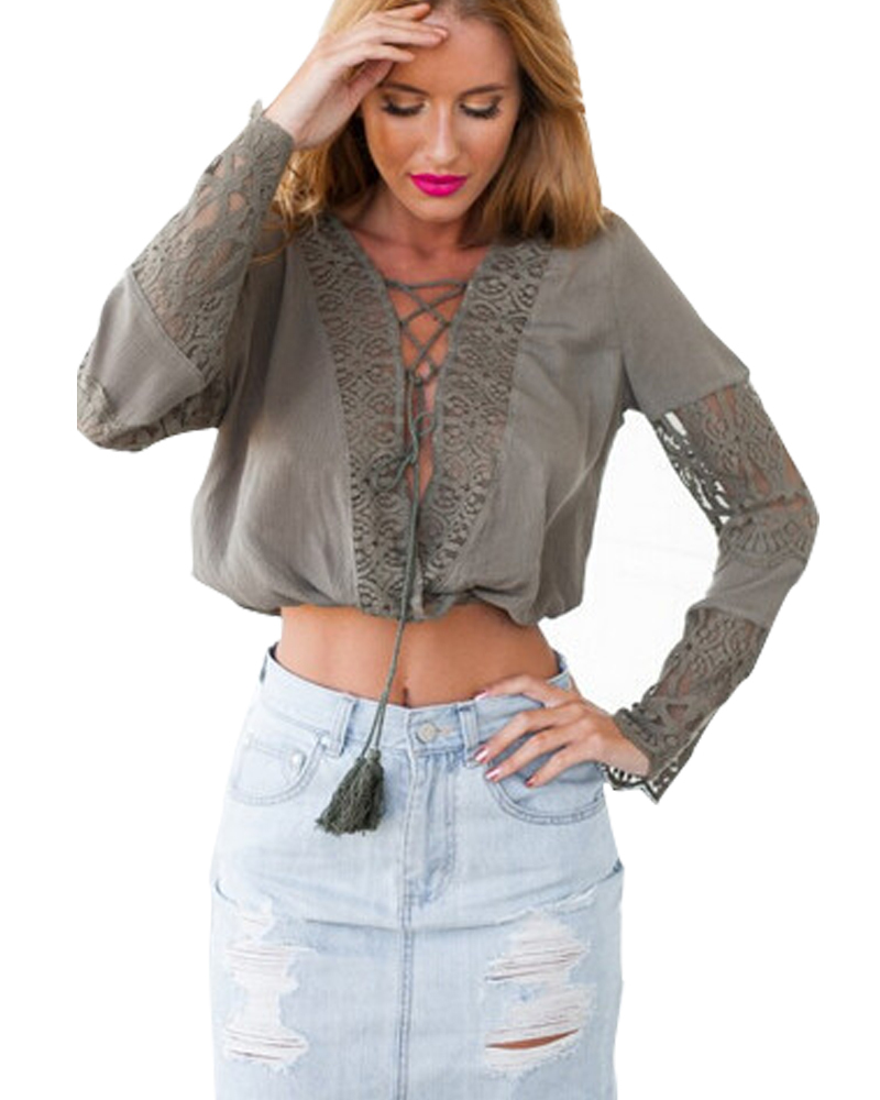c7b68f0f1724e Summer Style Chiffon Lace Women Blouses Blusa Feminina 2015 New Sexy Deep V Long  Sleeve Crop