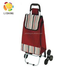 Foldable vegetable trolley shopping bag, customized shopping trolley bag with 3 wheels,