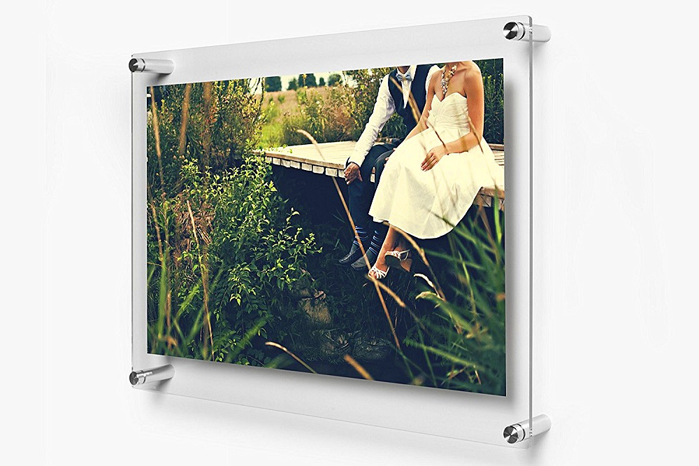wholesale double panel clear wall mounted acrylic floating wedding photo picture frame with screw