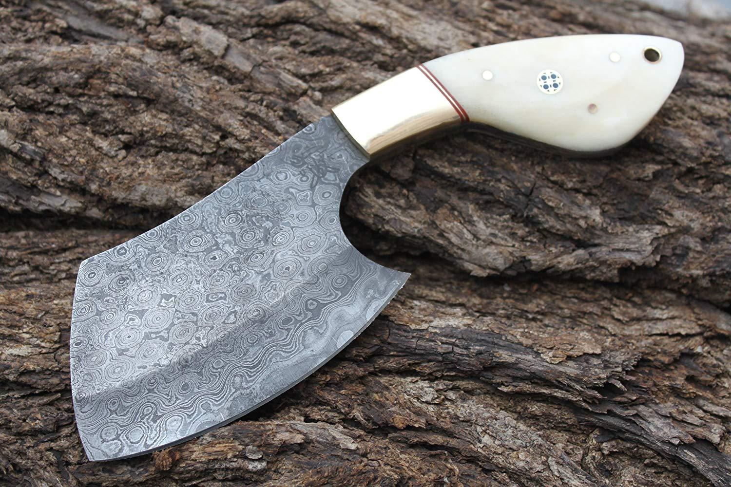 "Beautiful Damascus Handmade 4.6"" Wide Blade Cleaver w/Brass Bolsters, Buffalo Horn & Custom made Sheath Cover UDK-L-C-40"
