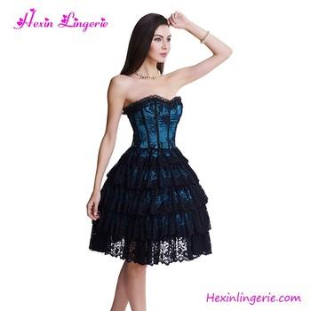 bf7c7df51b680 2017 Blue Body Shaper Gothic Lace Up Women Full Body Sexy Corset Dress