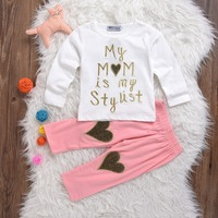 2017 New Baby Set Baby Girl Newborn Toddler Spring Clothes 2PCS Letter Romper+Gold Heart Pink Long Pant Outfits