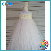 new fashion pageant dresses for girls 2 layers kids bridal dresses with flower headband set