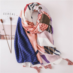 Custom Print 100cm Polyester Voile Woven Scarf With Tassels