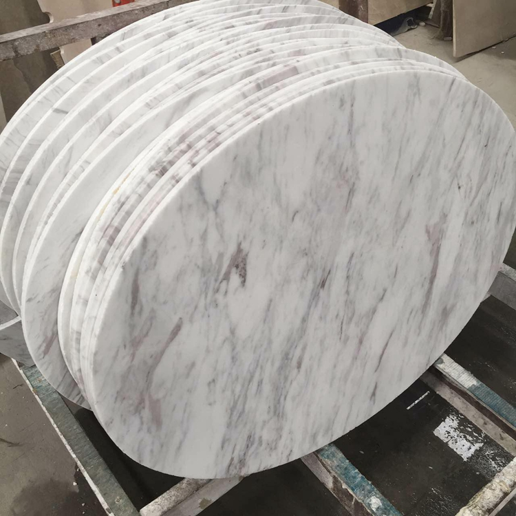 Natural Good Quality Polished Round Greece Volakas White Marble Dining Table Tops, Countertops