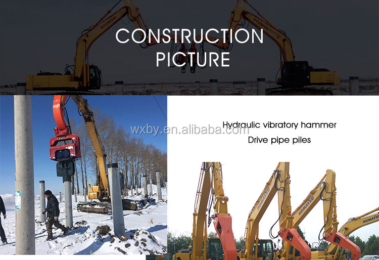 Excavator mounted vibro hammer for piling installation