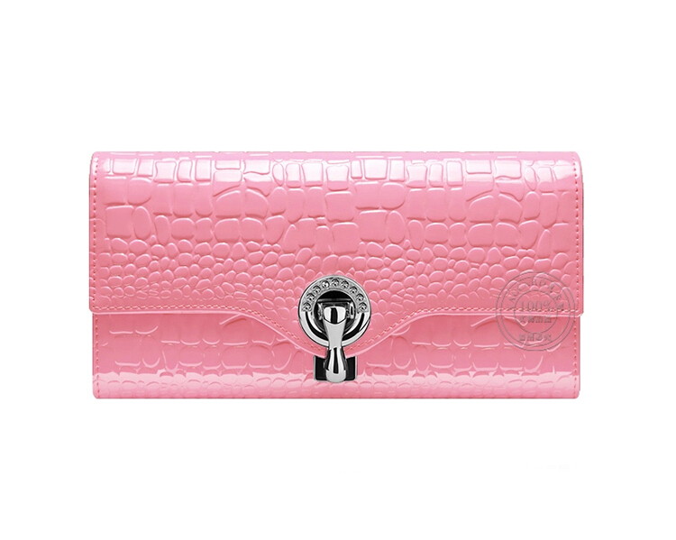 2015 New Crocodile Grain Long Women's Wallets Genuine Leather High Quality Brand Leather Wallets Ladies Fashion Women Purses