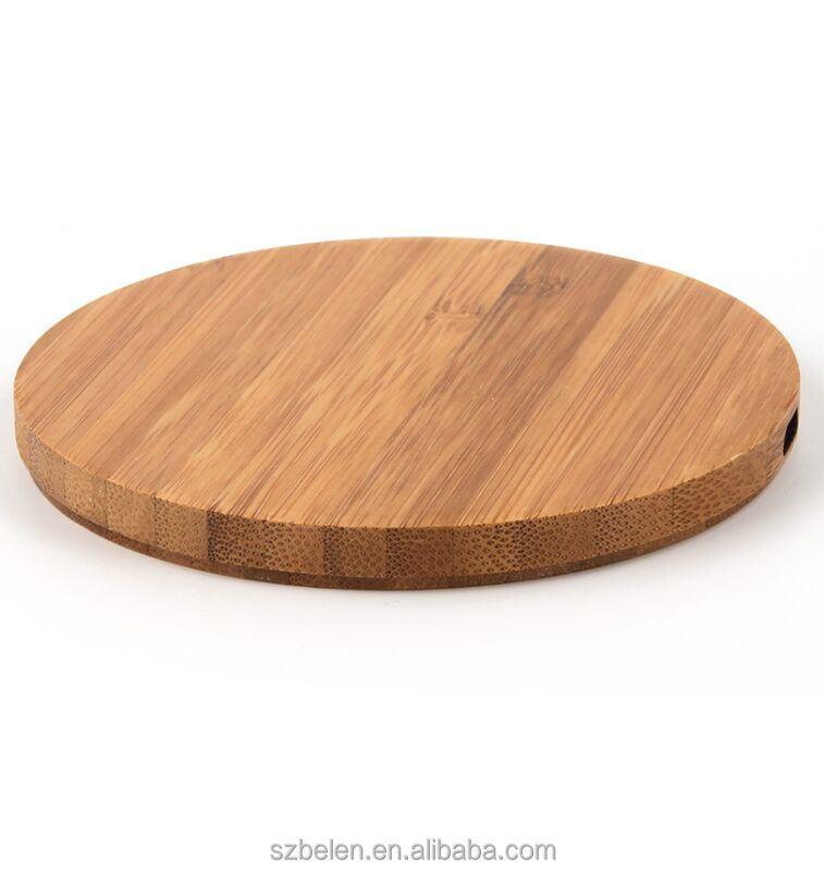Pure Wooden Round Charging Station Bamboo Qi Charger For Iphone 8 X