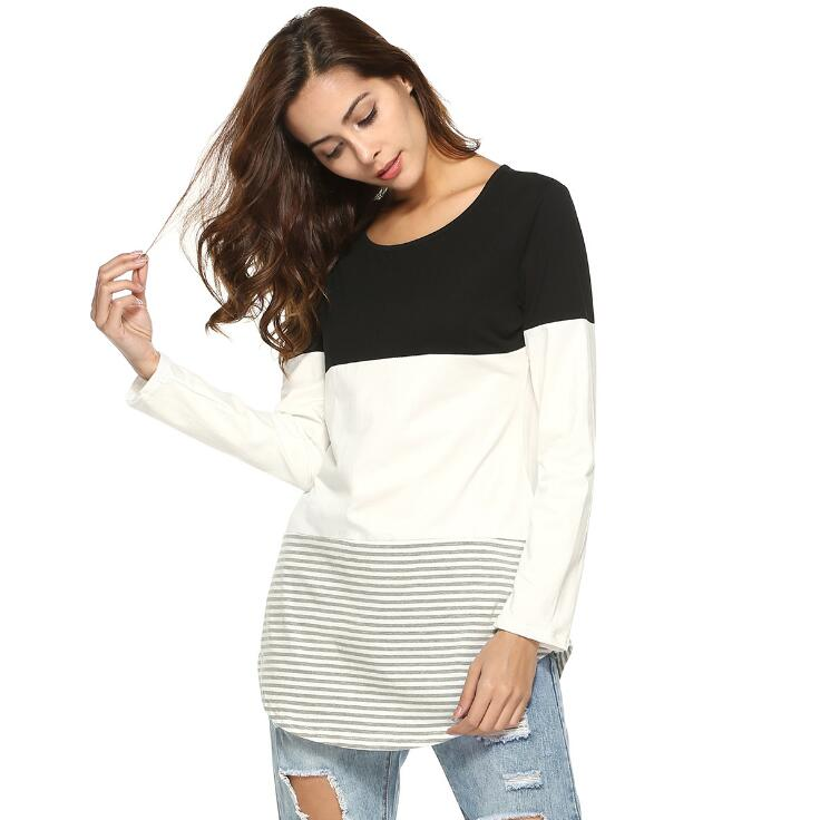 Alibaba.com / Tri-Color Stripes Female T-Shirt Long Sleeves Round Neck Tops Fashion Casual Slim Stitching T-Shirts For Women'S Clothing A413