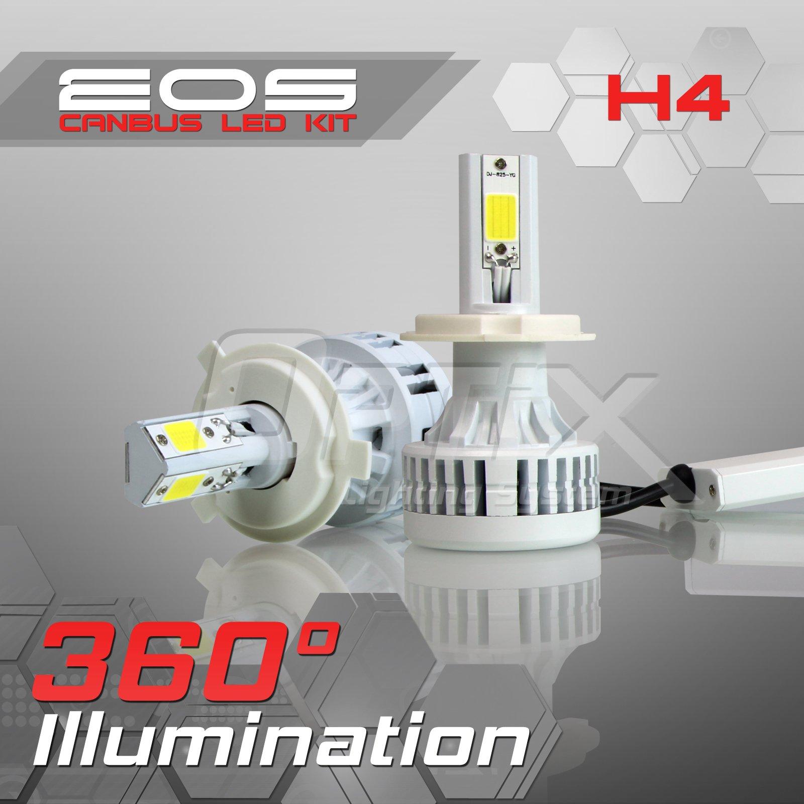 Optix 80W 8000LM LED Headlight Conversion Kit - H4 HB2 9003 Dual Hi/Lo Beam Bulbs - 6000K 6K Diamond White - Premium Epistar COB Chip - Canbus Chip Error Free No Flicker Plug and Play Design